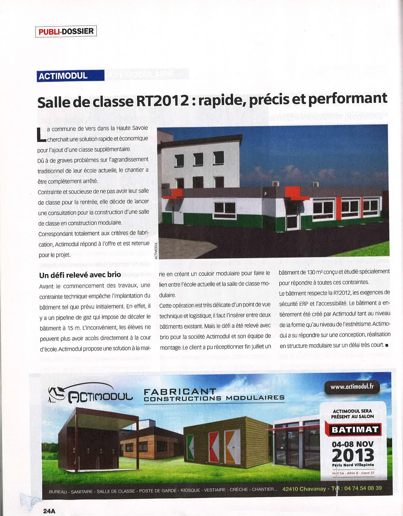 Salle de classe RT2012 : rapide, précis et performant