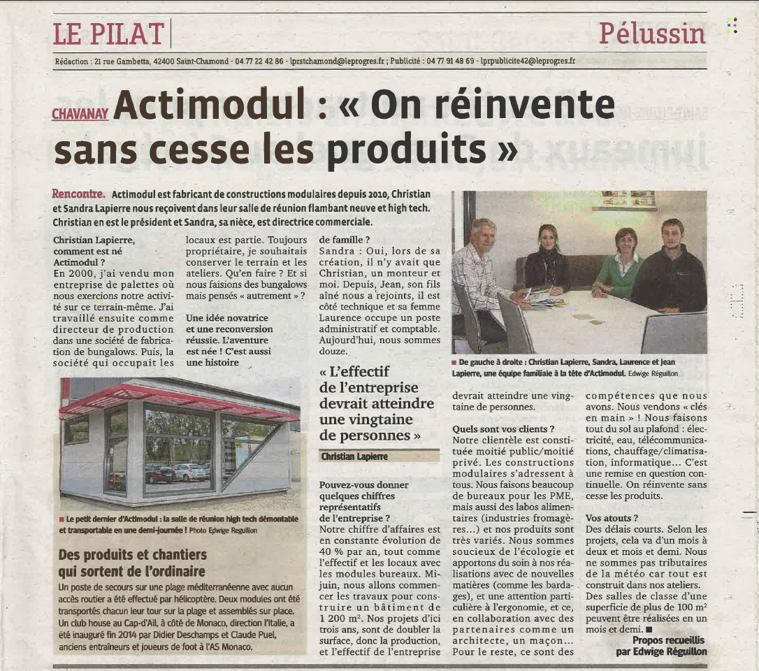 Article Le Progrès 4 mai 2015