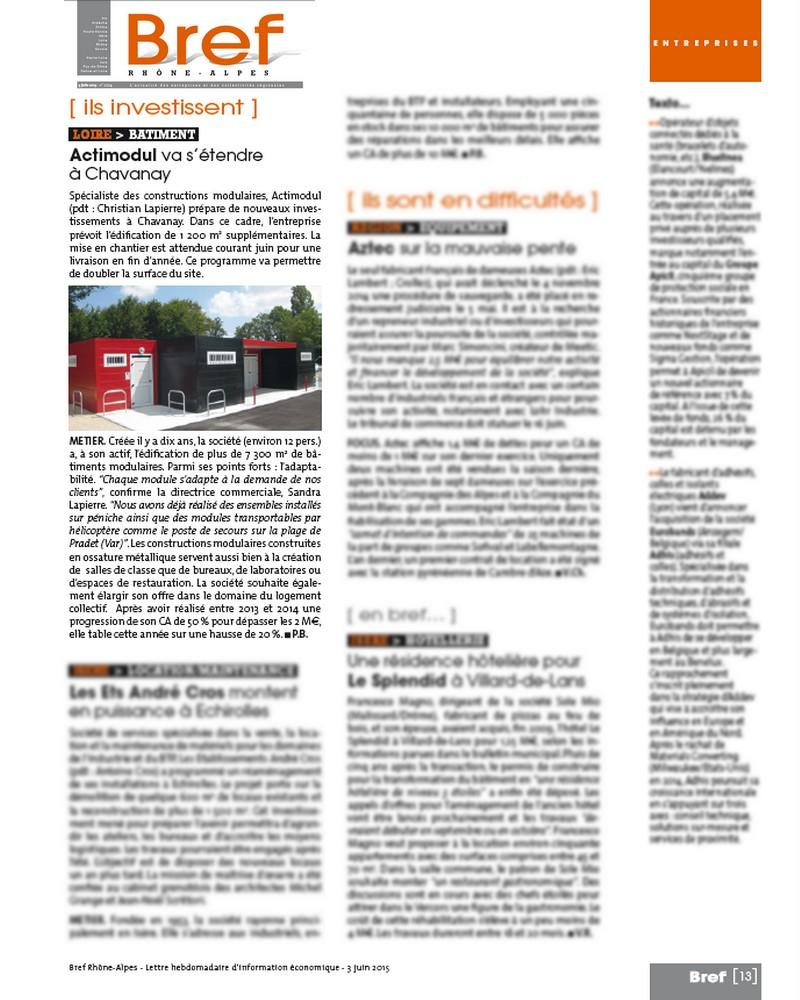 Article Bref Rhône Alpes 3 juin 2015